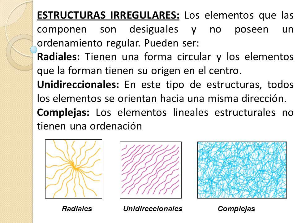 ESTRUCTURAS IRREGULARES: Los elementos que las componen son desiguales y no poseen un ordenamiento regular. Pueden ser: