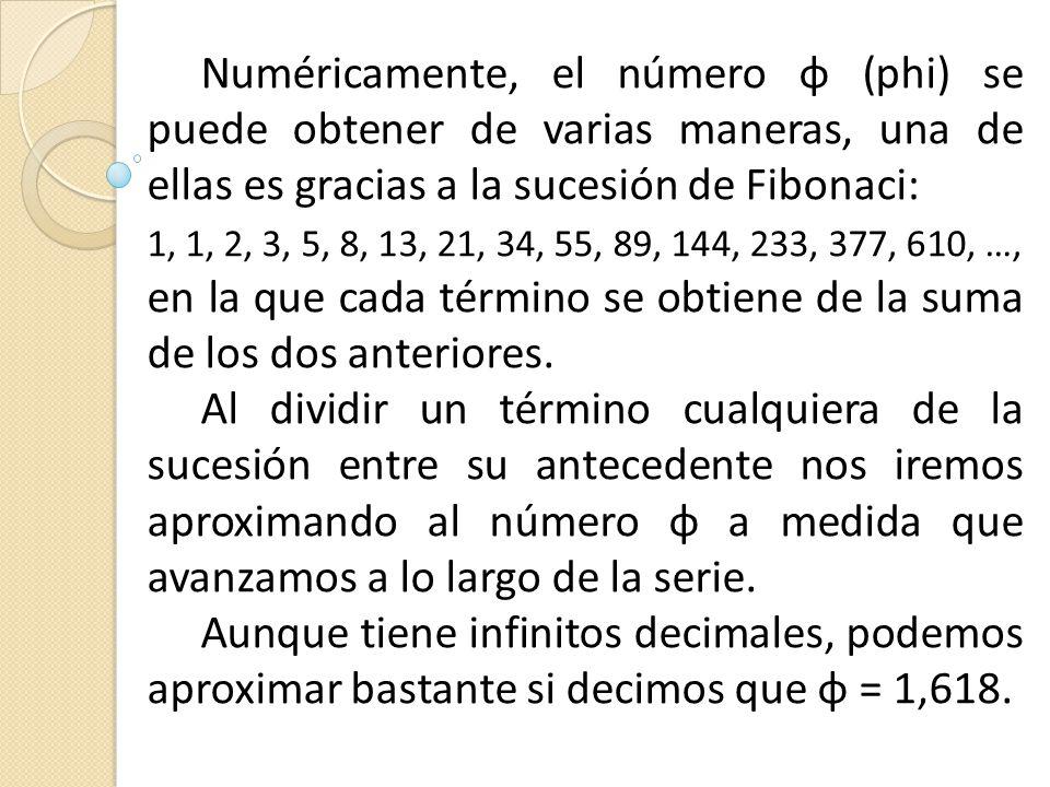 Numéricamente, el número ɸ (phi) se puede obtener de varias maneras, una de ellas es gracias a la sucesión de Fibonaci: