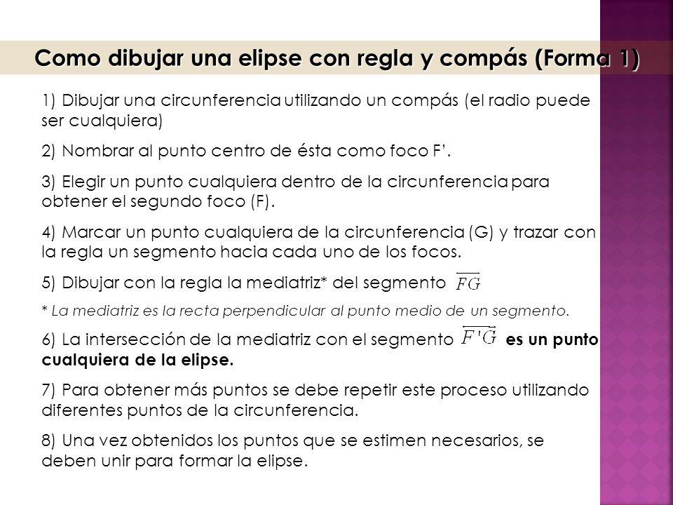 Como dibujar una elipse con regla y compás (Forma 1)
