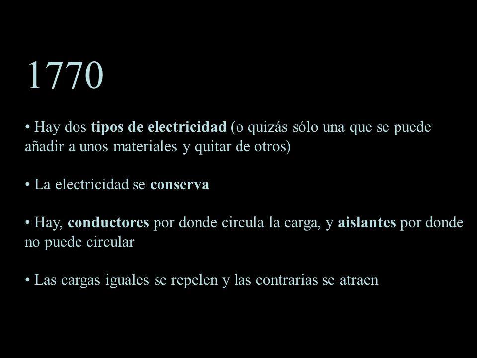 1770 Hay dos tipos de electricidad (o quizás sólo una que se puede añadir a unos materiales y quitar de otros)