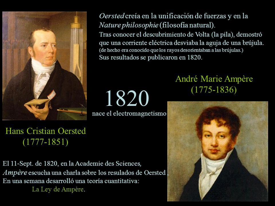 1820 André Marie Ampère (1775-1836) Hans Cristian Oersted (1777-1851)