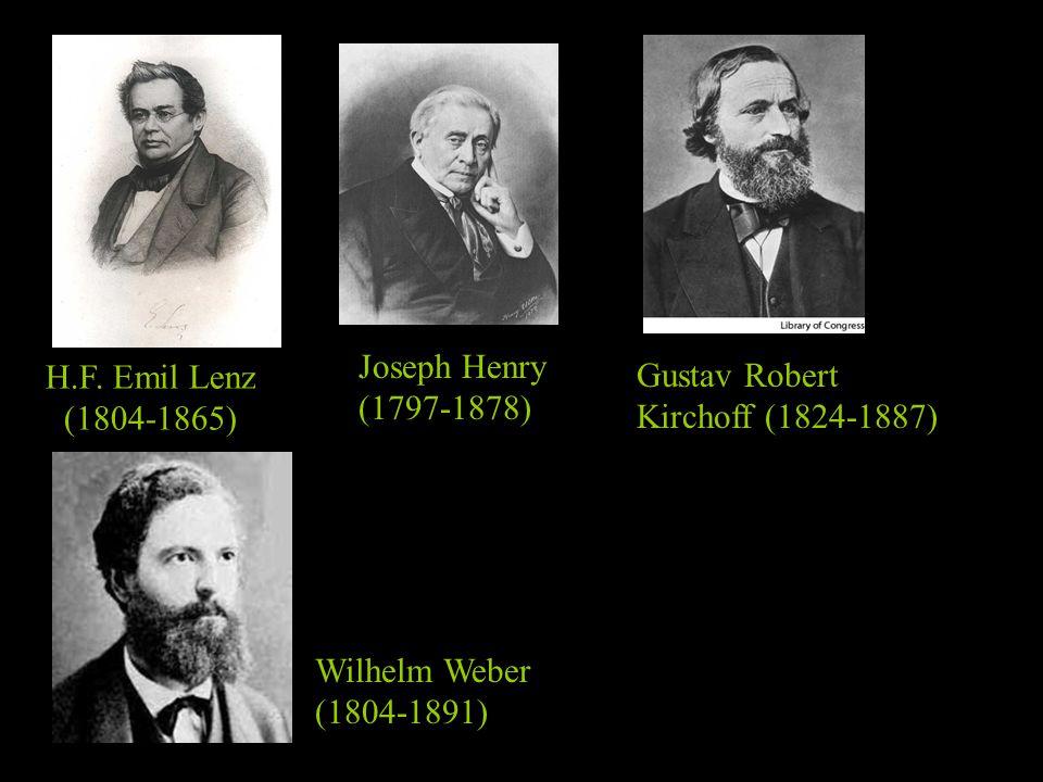Joseph Henry (1797-1878) H.F. Emil Lenz. (1804-1865) Gustav Robert. Kirchoff (1824-1887) Wilhelm Weber.