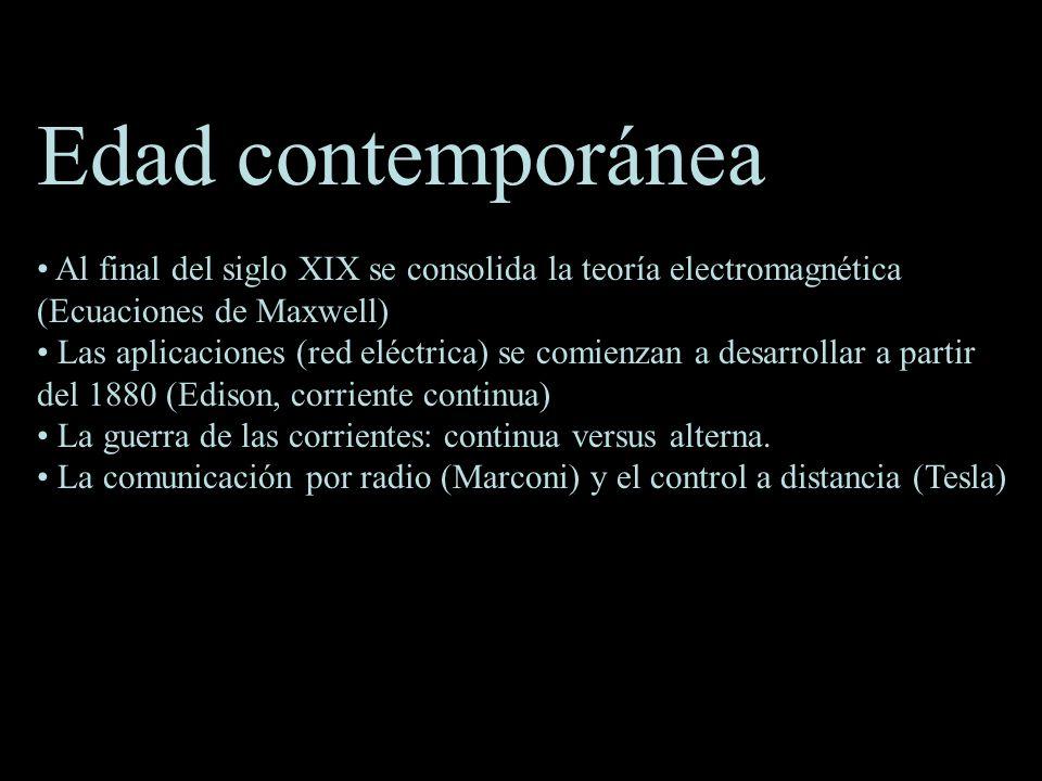 Edad contemporánea Al final del siglo XIX se consolida la teoría electromagnética (Ecuaciones de Maxwell)