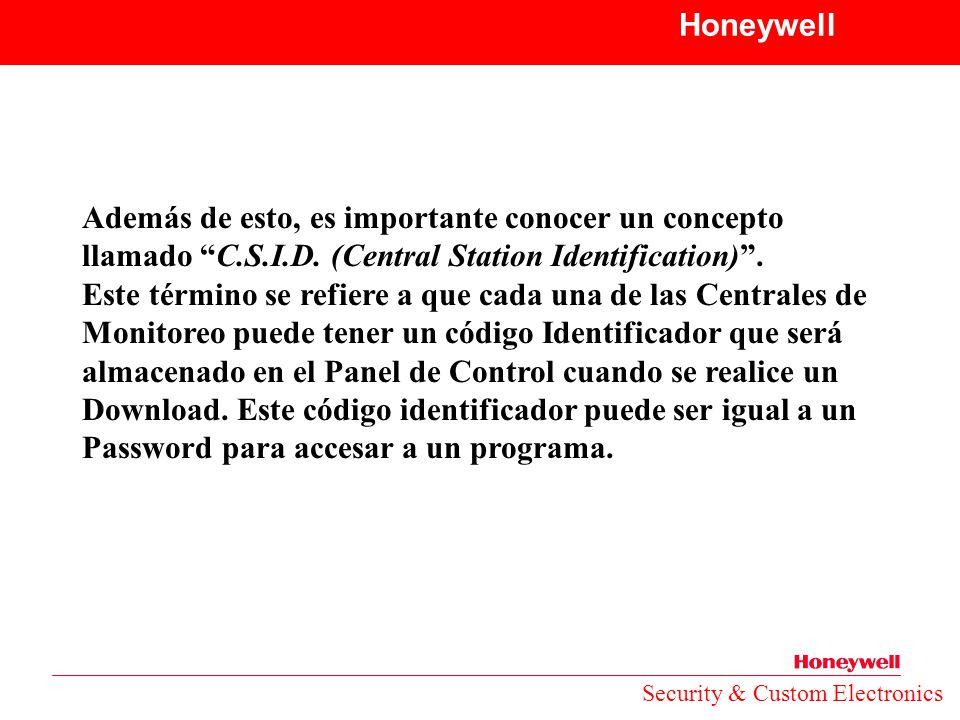 Honeywell Además de esto, es importante conocer un concepto llamado C.S.I.D. (Central Station Identification) .