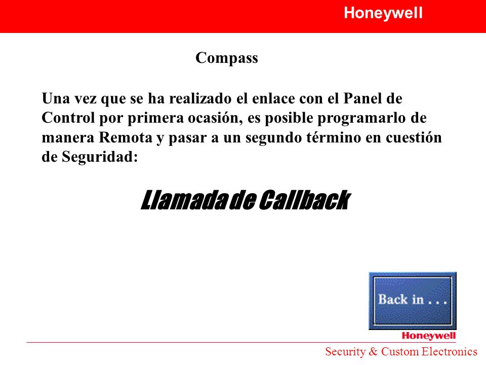 Llamada de Callback Honeywell Compass