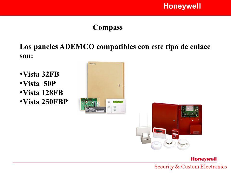 Los paneles ADEMCO compatibles con este tipo de enlace son: