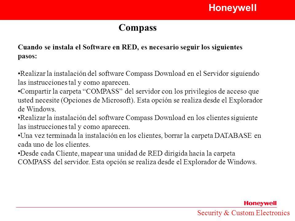 Honeywell Compass. Cuando se instala el Software en RED, es necesario seguir los siguientes pasos: