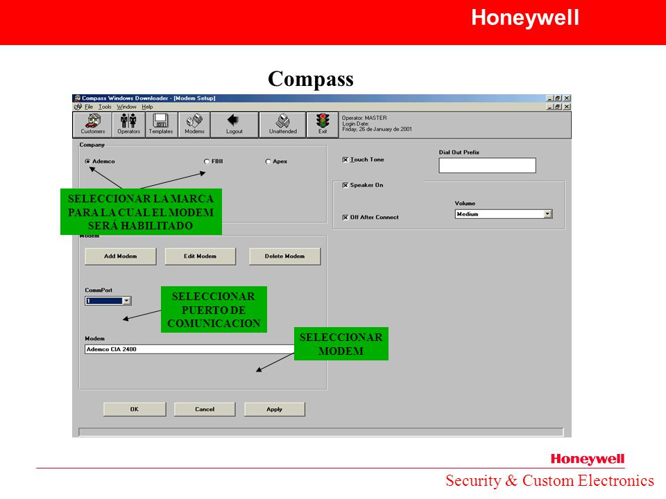 Honeywell Compass Security & Custom Electronics SELECCIONAR LA MARCA