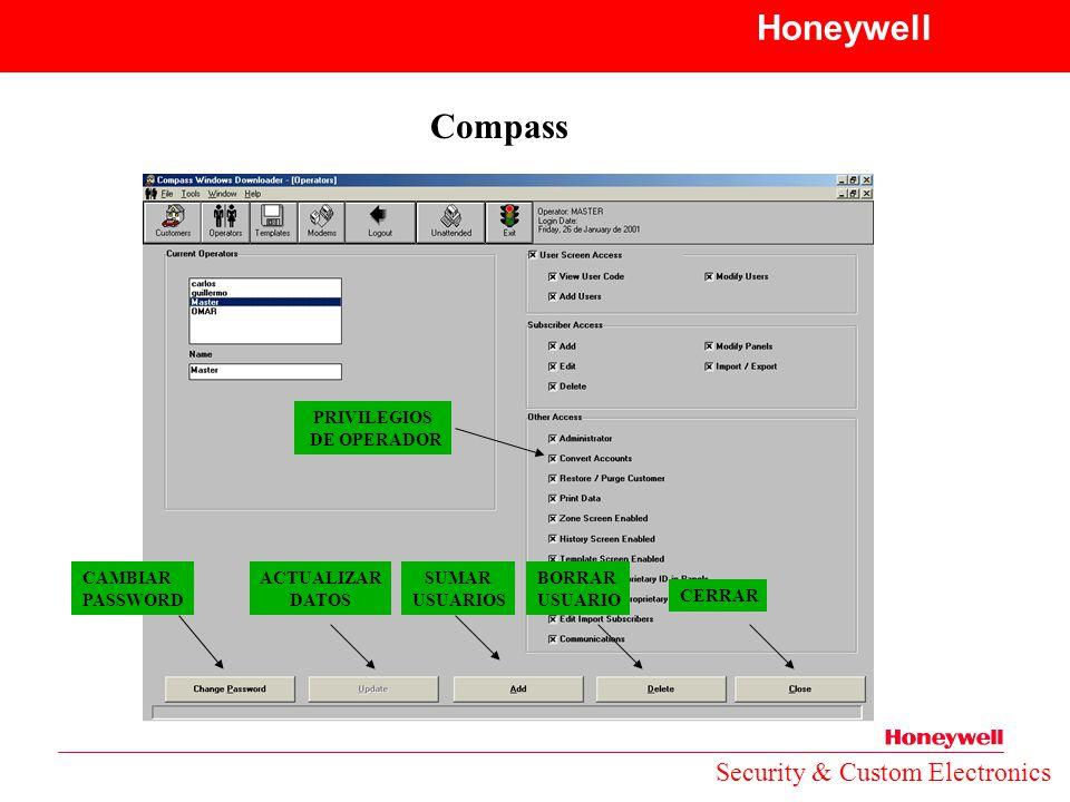 Honeywell Compass Security & Custom Electronics PRIVILEGIOS