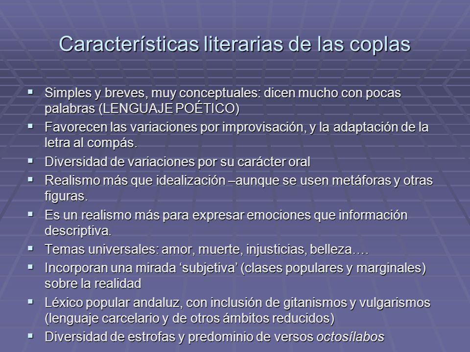 Características literarias de las coplas