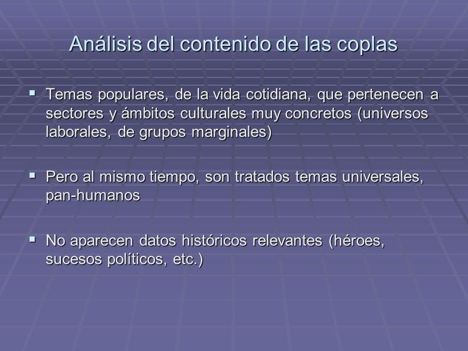 Análisis del contenido de las coplas