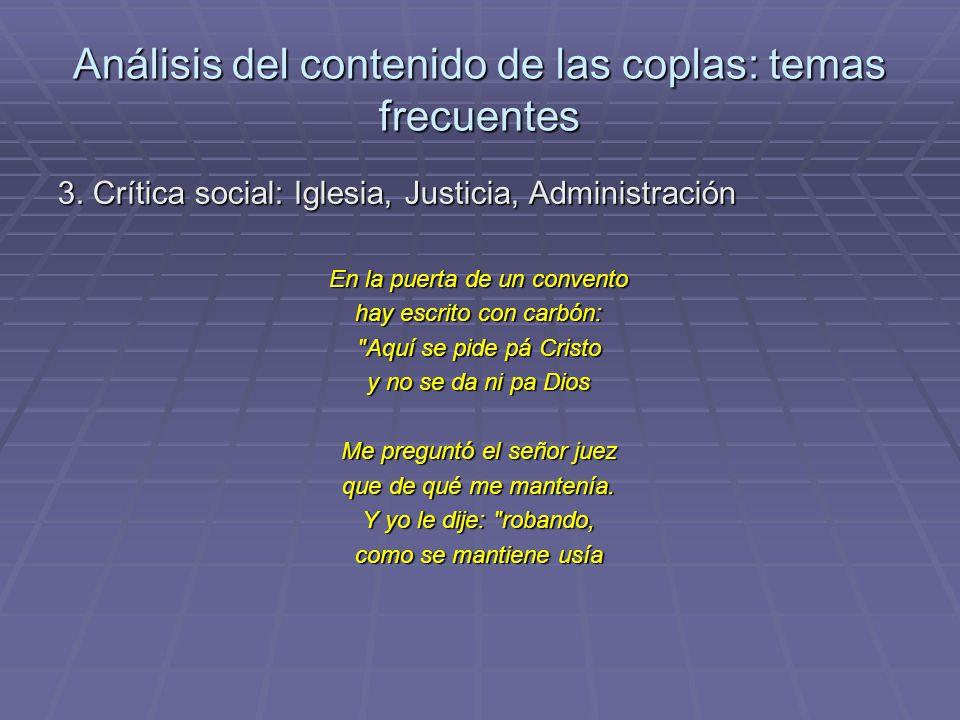 Análisis del contenido de las coplas: temas frecuentes