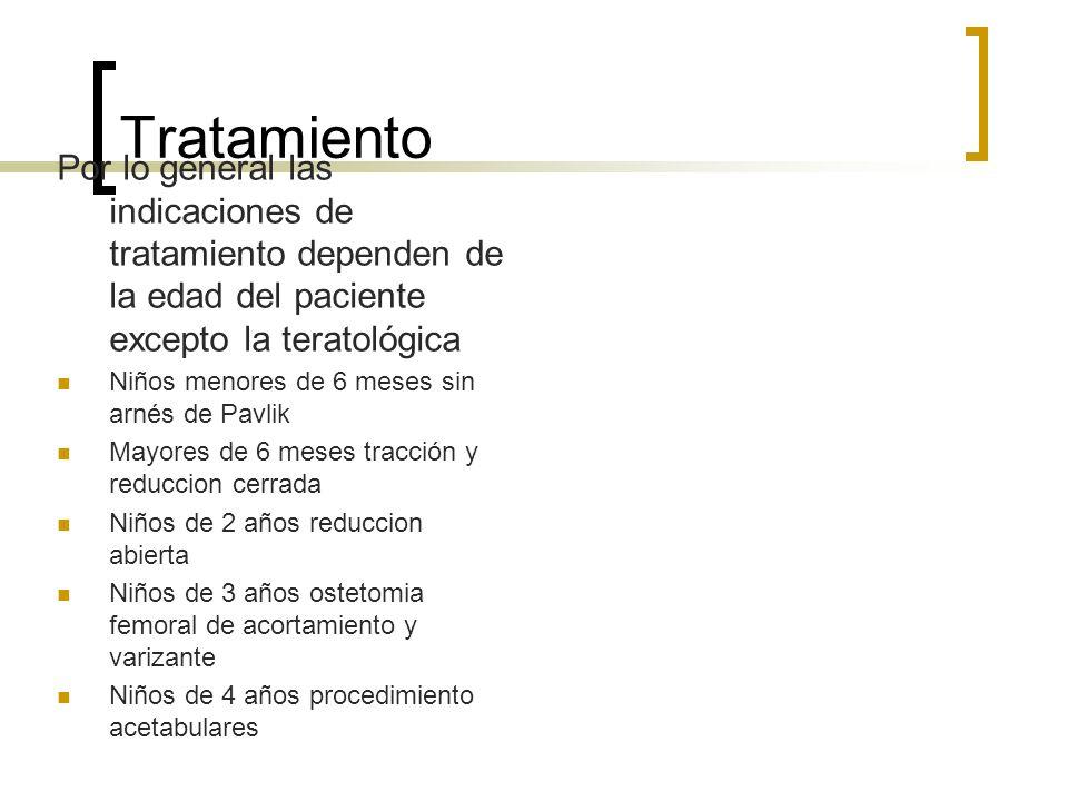 TratamientoPor lo general las indicaciones de tratamiento dependen de la edad del paciente excepto la teratológica.