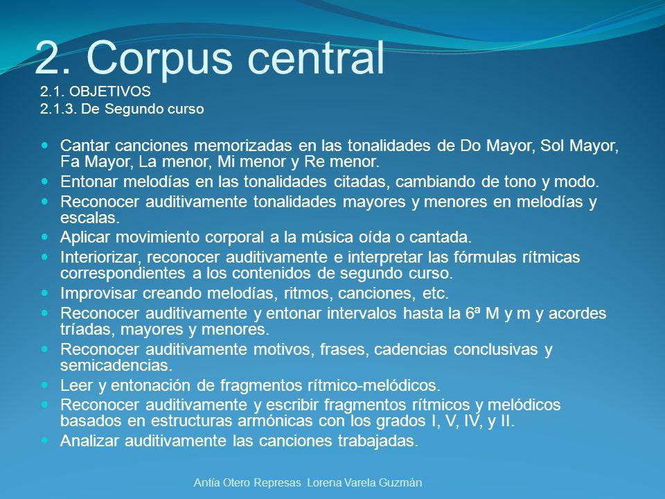 2. Corpus central 2.1. OBJETIVOS. 2.1.3. De Segundo curso.