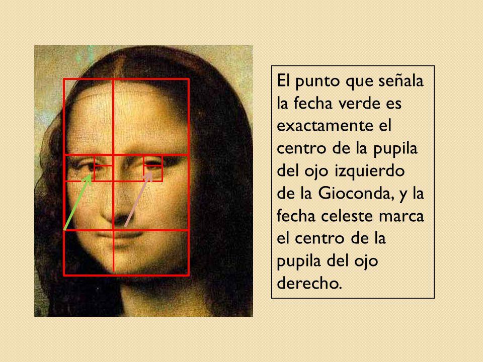 El punto que señala la fecha verde es exactamente el centro de la pupila del ojo izquierdo de la Gioconda, y la fecha celeste marca el centro de la pupila del ojo derecho.
