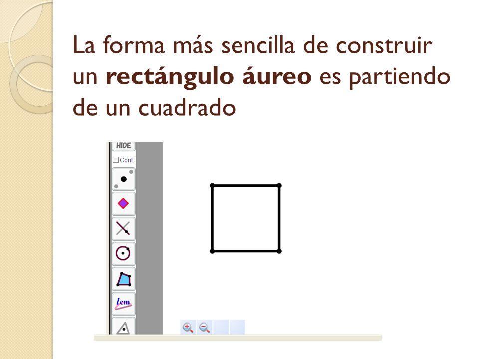 La forma más sencilla de construir un rectángulo áureo es partiendo de un cuadrado