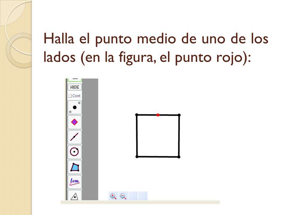 Halla el punto medio de uno de los lados (en la figura, el punto rojo):