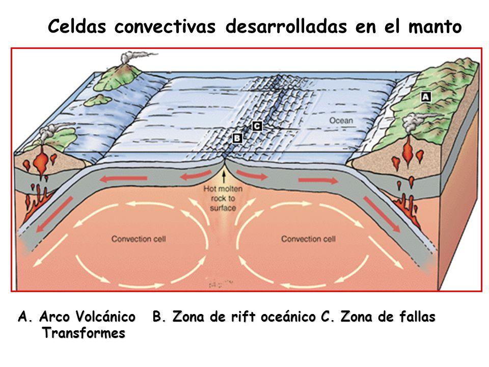 Celdas convectivas desarrolladas en el manto
