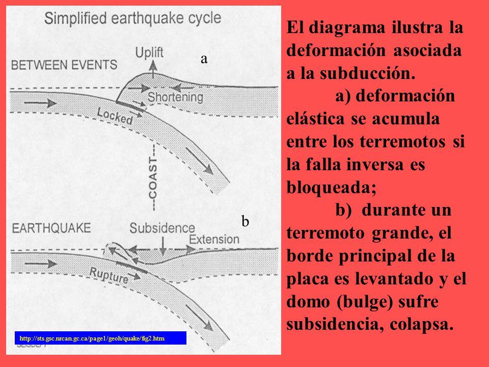 El diagrama ilustra la deformación asociada a la subducción.