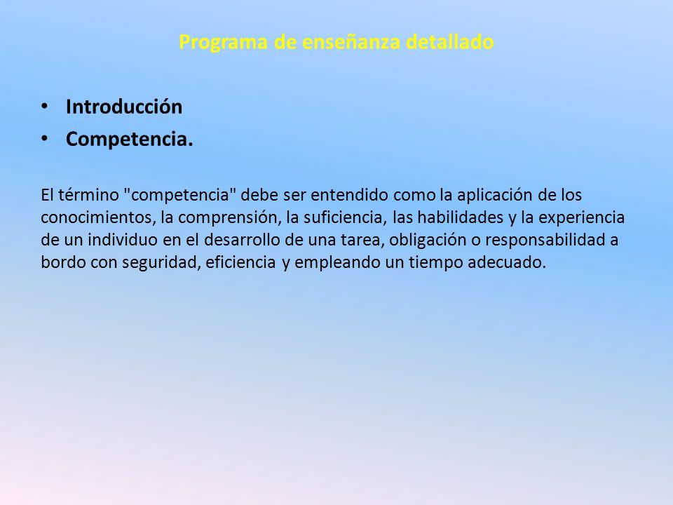 Programa de enseñanza detallado
