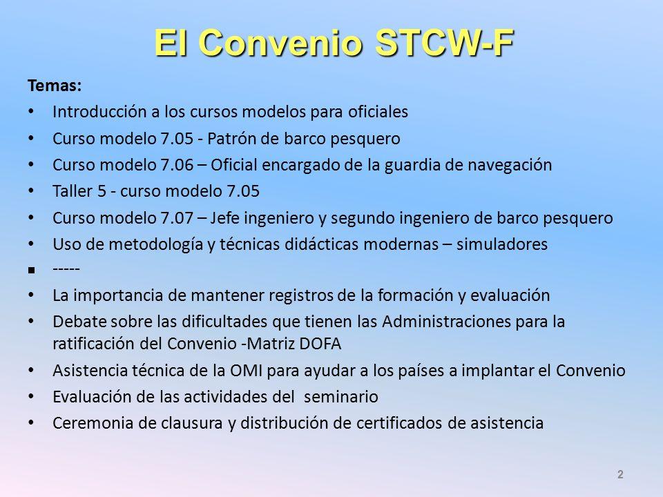 El Convenio STCW-F Temas: