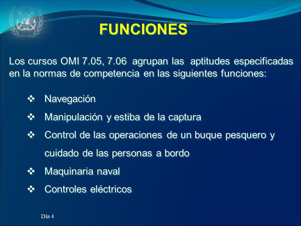 FUNCIONES Los cursos OMI 7.05, 7.06 agrupan las aptitudes especificadas en la normas de competencia en las siguientes funciones:
