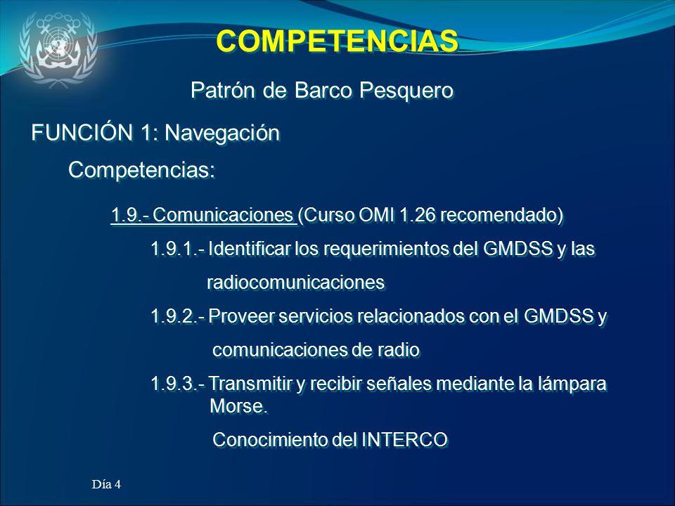 COMPETENCIAS Patrón de Barco Pesquero FUNCIÓN 1: Navegación