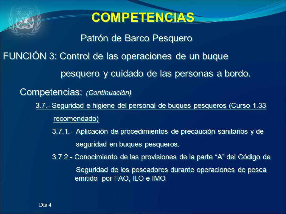 COMPETENCIAS Patrón de Barco Pesquero