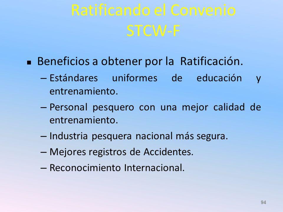 Ratificando el Convenio STCW-F