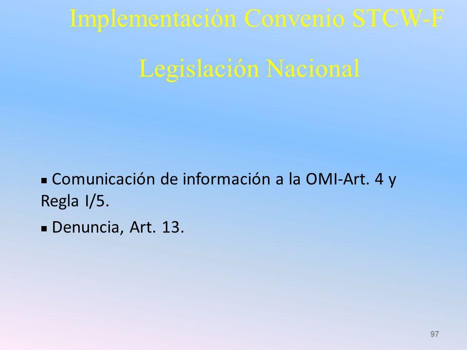 Implementación Convenio STCW-F