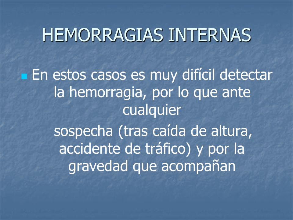 HEMORRAGIAS INTERNAS En estos casos es muy difícil detectar la hemorragia, por lo que ante cualquier.