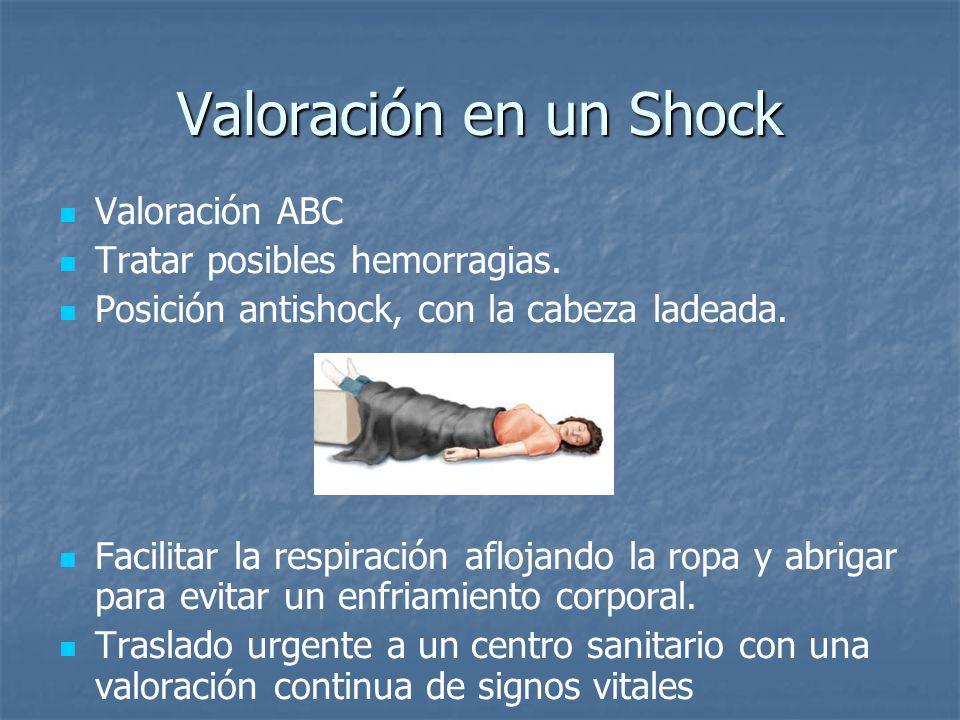 Valoración en un Shock Valoración ABC Tratar posibles hemorragias.