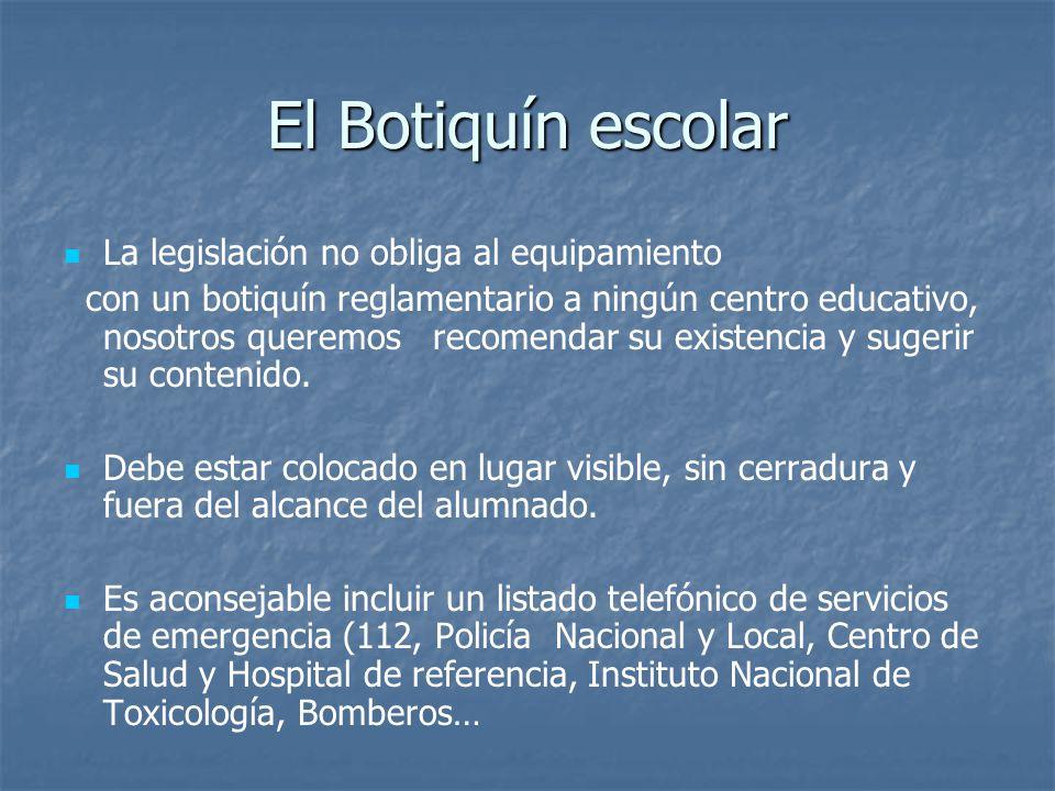 El Botiquín escolar La legislación no obliga al equipamiento