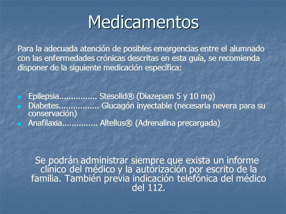 Medicamentos Para la adecuada atención de posibles emergencias entre el alumnado.
