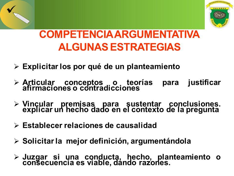 COMPETENCIA ARGUMENTATIVA ALGUNAS ESTRATEGIAS