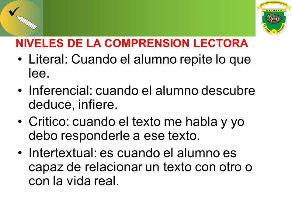 NIVELES DE LA COMPRENSION LECTORA