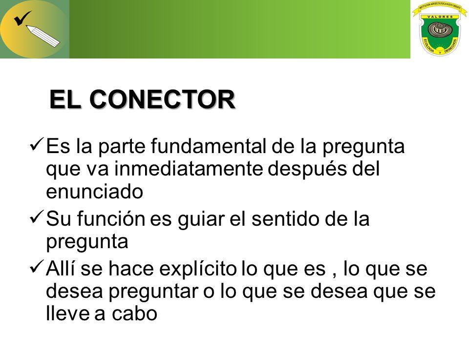 EL CONECTOR Es la parte fundamental de la pregunta que va inmediatamente después del enunciado. Su función es guiar el sentido de la pregunta.