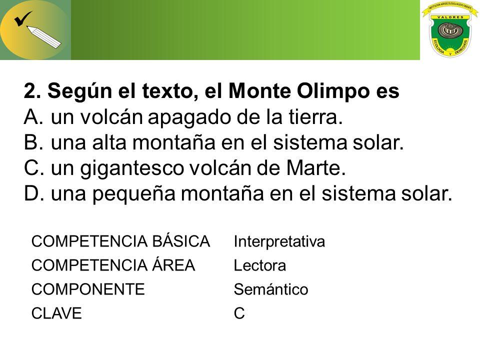 2. Según el texto, el Monte Olimpo es un volcán apagado de la tierra.