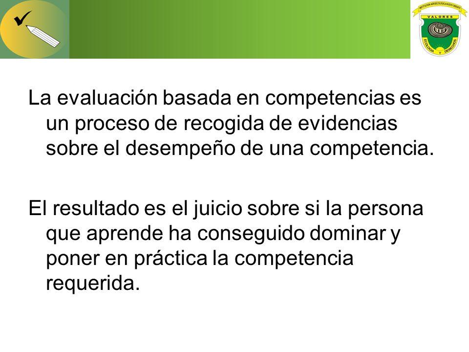 La evaluación basada en competencias es un proceso de recogida de evidencias sobre el desempeño de una competencia.