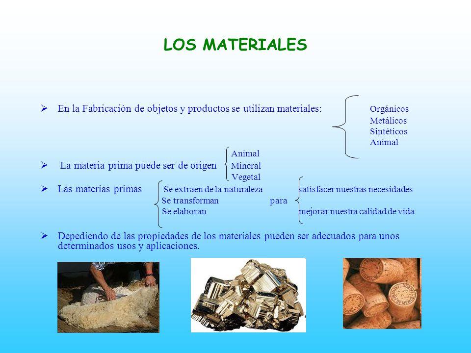 LOS MATERIALES En la Fabricación de objetos y productos se utilizan materiales: Orgánicos. Metálicos.