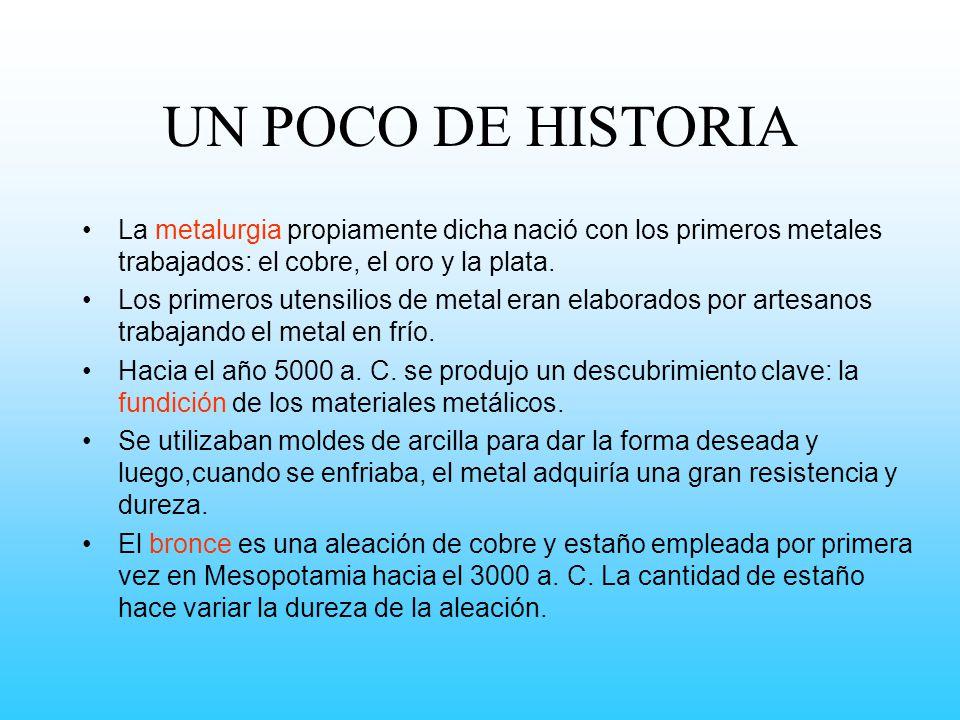 UN POCO DE HISTORIA La metalurgia propiamente dicha nació con los primeros metales trabajados: el cobre, el oro y la plata.