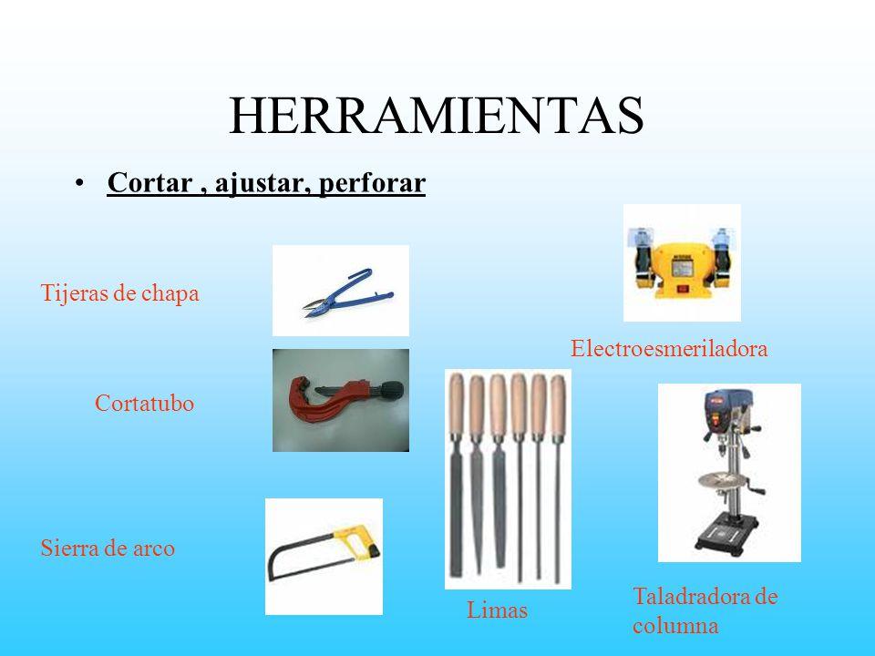 HERRAMIENTAS Cortar , ajustar, perforar Tijeras de chapa