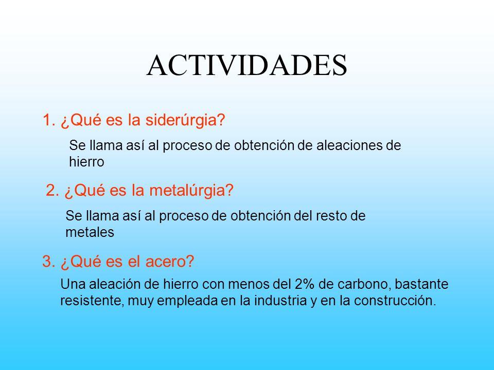 ACTIVIDADES 1. ¿Qué es la siderúrgia 2. ¿Qué es la metalúrgia