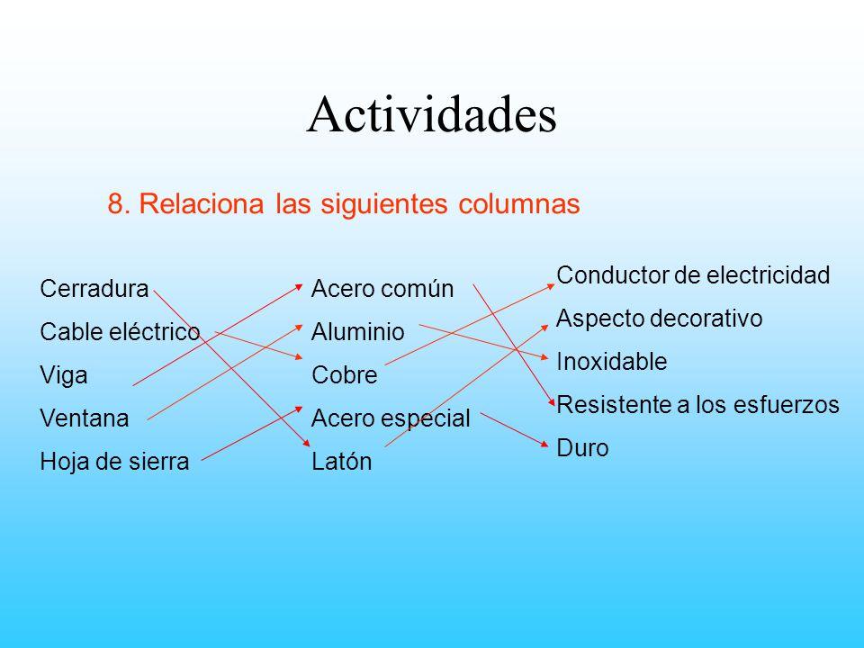 Actividades 8. Relaciona las siguientes columnas