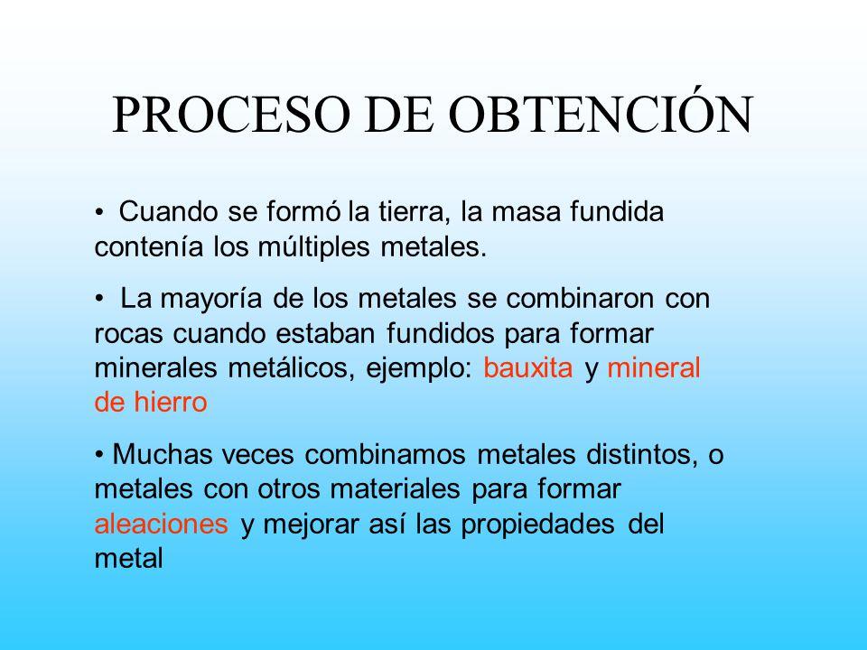 PROCESO DE OBTENCIÓN Cuando se formó la tierra, la masa fundida contenía los múltiples metales.