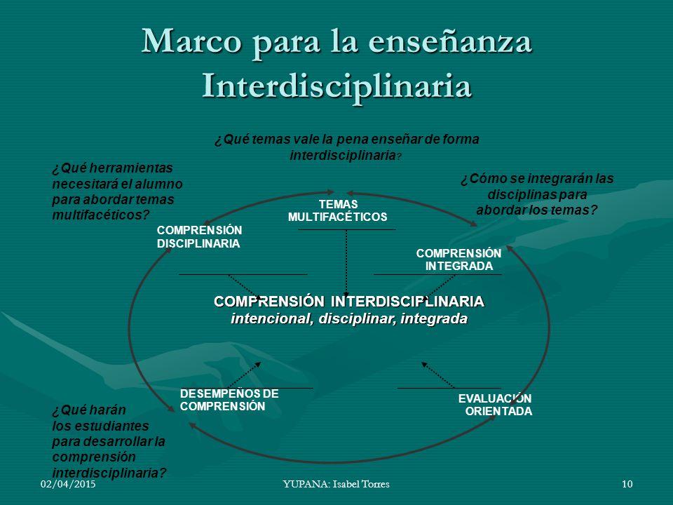 Marco para la enseñanza Interdisciplinaria