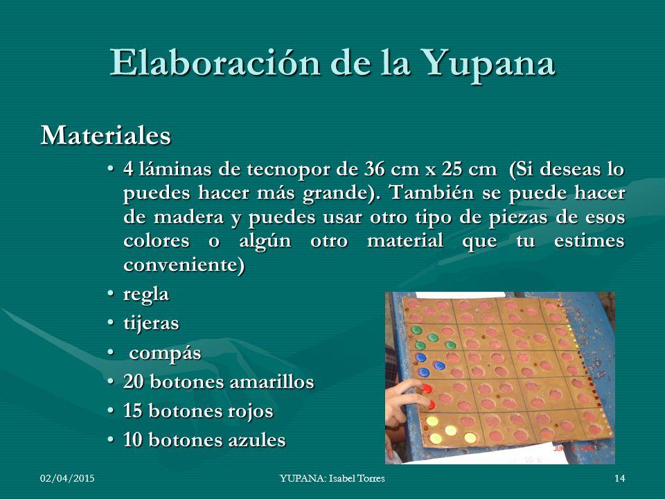Elaboración de la Yupana