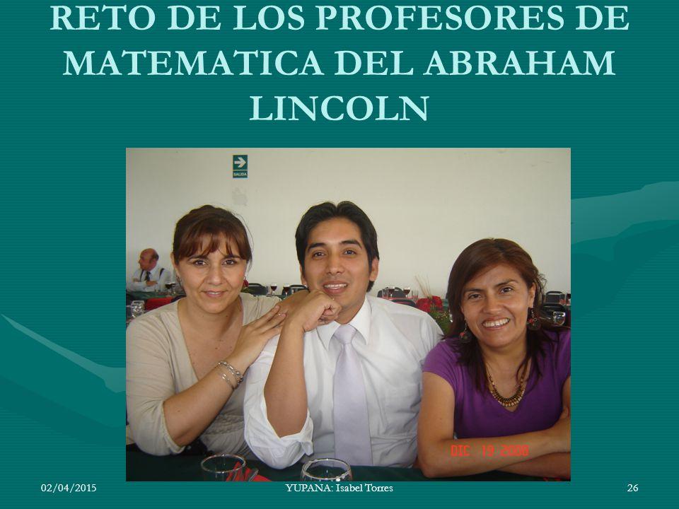 RETO DE LOS PROFESORES DE MATEMATICA DEL ABRAHAM LINCOLN