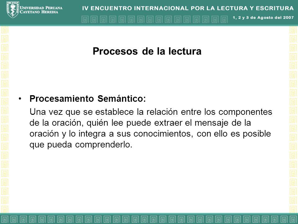 Procesos de la lectura Procesamiento Semántico: