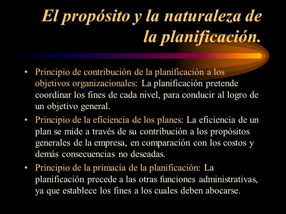 El propósito y la naturaleza de la planificación.